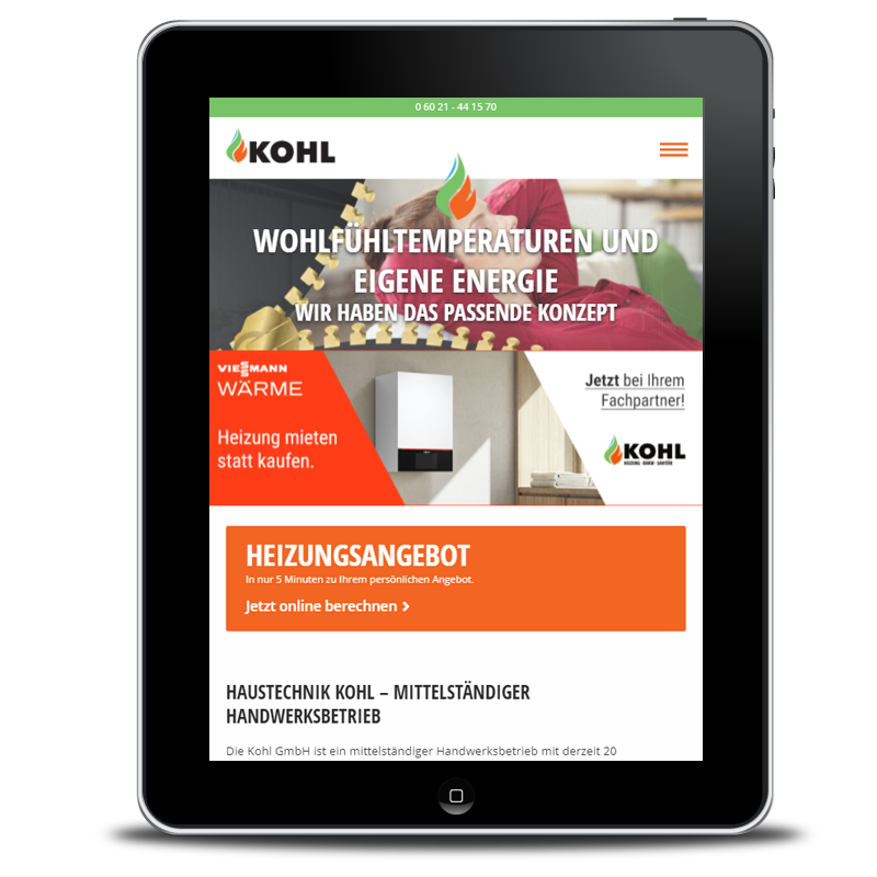 Webdesign Kohl GmbH Heizungsbau